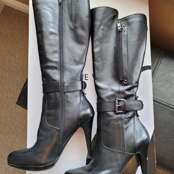 Nine West Reindeer Leather Boots (sz 7.5, blk)